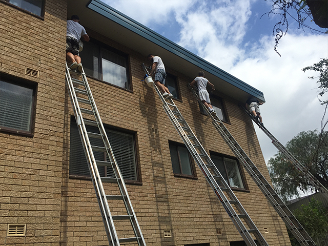 We were commissioned to paint all the exterior eves, fascia and gutters of this strata residential building in Abbotsford, Sydney. At one time we had seven painters up 40ft ladders to ensure the job was completed on schedule.